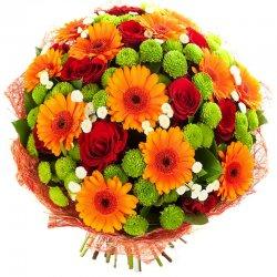 זר פרחי העונה צבעוני