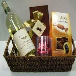 סלסלת שוקולד ויין