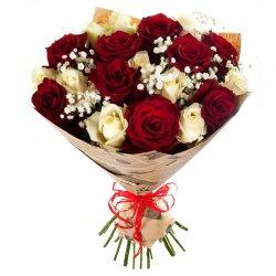 זר ורדים אדום לבן
