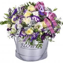 סידור פרחים בקופסה