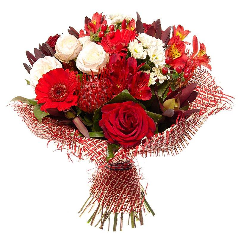 זר פרחים אדום