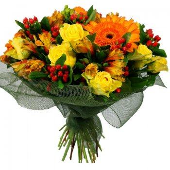 זר פרחים כפרי מחבק