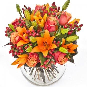 זר פרחים כפרי בכתום