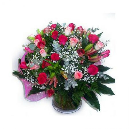 זר פרחים בורדו