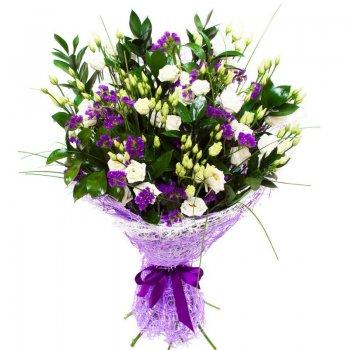 זר פרחים סגול לבן