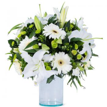 זר פרחים יום לבן
