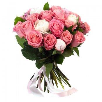 זר ורדים ורוד לבן