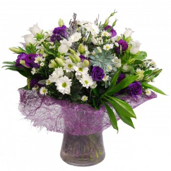 זר פרחים כפרי סגול