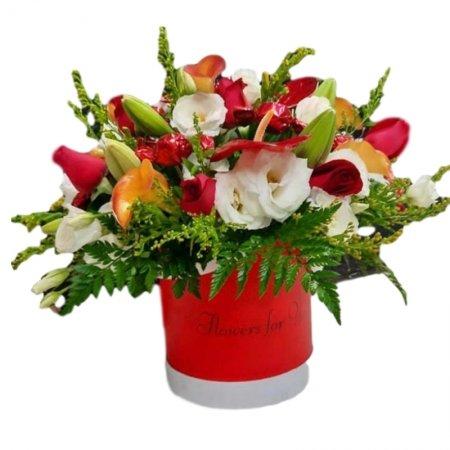 סידור פרחים בקופסא