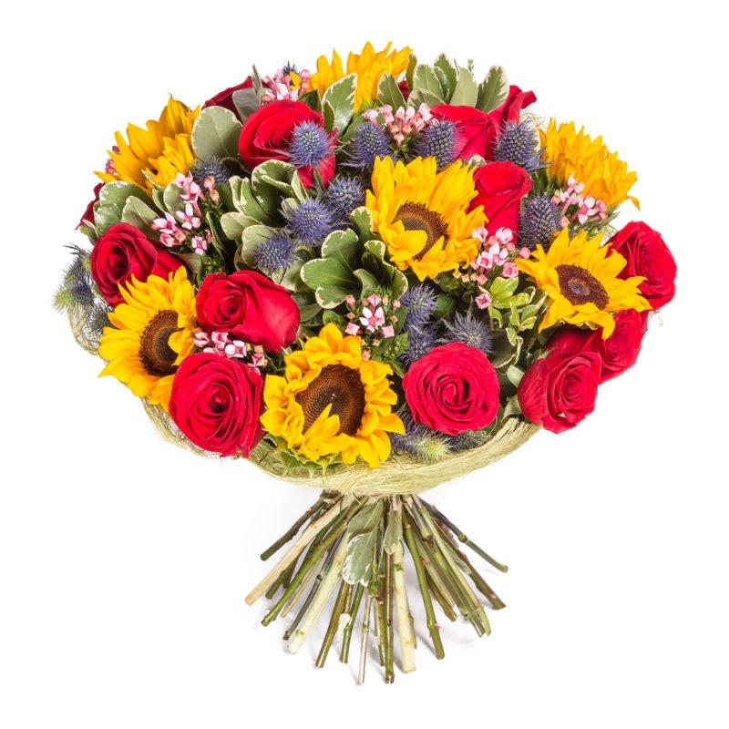 זר פרחים חמניות וורדים
