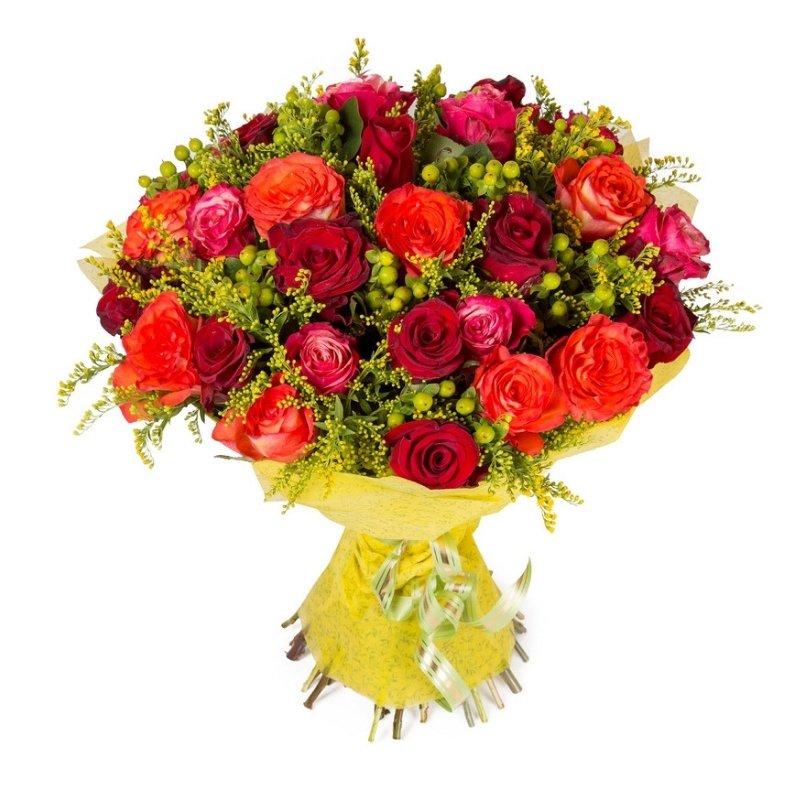 זר פרחים גן ורדים