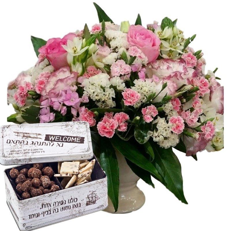 דיל סידור פרחים ורוד