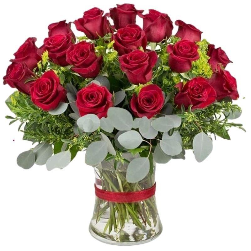 זר ורדים אדומים גבוהים